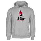 Grey Fleece Hoodie-Cardinal Head Ball State Cardinals Vertical