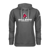 Adidas Climawarm Charcoal Team Issue Hoodie-Ball State Cardinals w/ Cardinal