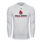 Under Armour White Long Sleeve Tech Tee-Ball State Cardinals w/ Cardinal