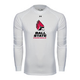 Under Armour White Long Sleeve Tech Tee-Ball State Cardinals Stacked