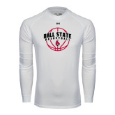 Under Armour White Long Sleeve Tech Tee-Basketball Arched w/ Ball