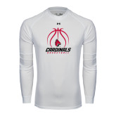 Under Armour White Long Sleeve Tech Tee-Cardinals Basketball Stacked