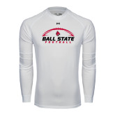 Under Armour White Long Sleeve Tech Tee-Ball State Football Horizontal