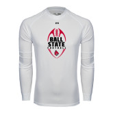 Under Armour White Long Sleeve Tech Tee-Ball State Football Vertical