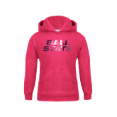 Youth Raspberry Fleece Hoodie-Ball State Stacked Foil