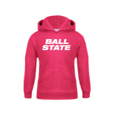 Youth Raspberry Fleece Hoodie-Ball State Stacked