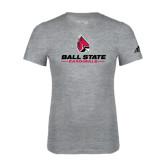 Adidas Sport Grey Logo T Shirt-Ball State Cardinals w/ Cardinal