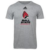 Adidas Sport Grey Logo T Shirt-Cardinal Head Ball State Cardinals Vertical