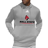 Adidas Grey Team Issue Hoodie-Cardinal Head Ball State Cardinals