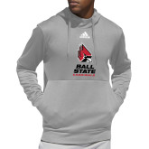 Adidas Grey Team Issue Hoodie-Cardinal Head Ball State Cardinals Vertical