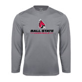 Performance Steel Longsleeve Shirt-Ball State Cardinals w/ Cardinal