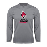 Performance Steel Longsleeve Shirt-Ball State Cardinals Stacked