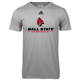Adidas Climalite Sport Grey Ultimate Performance Tee-Cardinal Head Ball State Cardinals