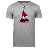 Adidas Climalite Sport Grey Ultimate Performance Tee-Cardinal Head Ball State Cardinals Vertical