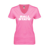 Next Level Ladies Junior Fit Deep V Pink Tee-Ball State Stacked