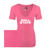 Next Level Ladies Vintage Pink Tri Blend V-Neck Tee-Ball State Stacked