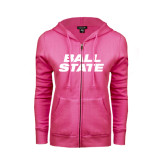 ENZA Ladies Fuchsia Fleece Full Zip Hoodie-Ball State Stacked