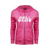 ENZA Ladies Fuchsia Fleece Full Zip Hoodie-Ball State Stacked