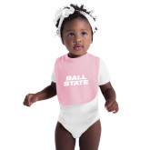 Light Pink Baby Bib-Ball State Wordmark Vertical