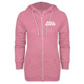 ENZA Ladies Hot Pink Marled Full Zip Hoodie-Ball State Stacked