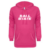 ENZA Ladies Hot Pink V Notch Raw Edge Fleece Hoodie-Ball State Stacked