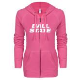 ENZA Ladies Hot Pink Light Weight Fleece Full Zip Hoodie-Ball State Stacked