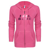 ENZA Ladies Hot Pink Light Weight Fleece Full Zip Hoodie-Ball State Stacked Foil
