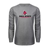 Grey Long Sleeve T Shirt-Ball State Cardinals w/ Cardinal
