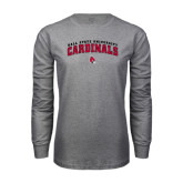 Grey Long Sleeve T Shirt-Arched Ball State University Cardinals