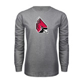 Grey Long Sleeve T Shirt-Cardinal Distressed