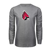 Grey Long Sleeve T Shirt-Cardinal Distressed