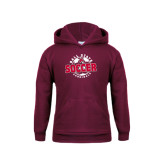 Youth Maroon Fleece Hoodie-Soccer Circle