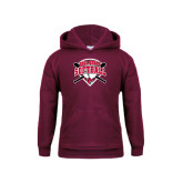 Youth Maroon Fleece Hoodie-Softball Bats and Plate