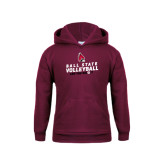 Youth Maroon Fleece Hoodie-Volleyball Can You Dig It
