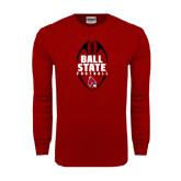 Cardinal Long Sleeve T Shirt-Ball State Football Vertical