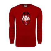 Cardinal Long Sleeve T Shirt-Ball State Football Vertical