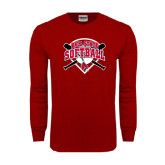 Cardinal Long Sleeve T Shirt-Softball Bats and Plate