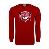 Cardinal Long Sleeve T Shirt-Softball Bats and Plate