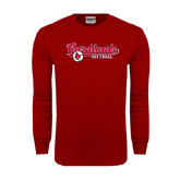 Cardinal Long Sleeve T Shirt-Softball Script