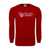 Cardinal Long Sleeve T Shirt-Softball Script