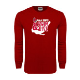 Cardinal Long Sleeve T Shirt-Swim & Dive Swimmer