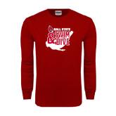 Cardinal Long Sleeve T Shirt-Swim & Dive Swimmer
