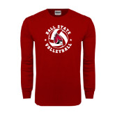 Cardinal Long Sleeve T Shirt-Volleyball Circle