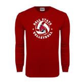 Cardinal Long Sleeve T Shirt-Volleyball Circle