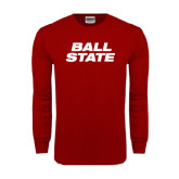 Cardinal Long Sleeve T Shirt-Ball State Stacked
