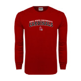 Cardinal Long Sleeve T Shirt-Arched Ball State University Cardinals