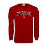Cardinal Long Sleeve T Shirt-Arched Ball State University Cardinals