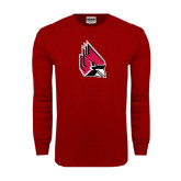 Cardinal Long Sleeve T Shirt-Cardinal Distressed