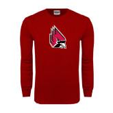 Cardinal Long Sleeve T Shirt-Cardinal Distressed