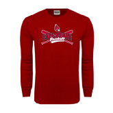 Cardinal Long Sleeve T Shirt-Baseball Crossed Bats